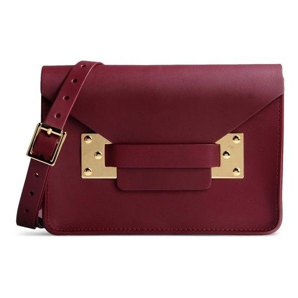 Sophie Hulme Dark Red Leather Clutch (£370) ❤ liked on Polyvore featuring bags, handbags, clutches, red, 100 leather handbags, leather purse, leather clutches, red clutches and genuine leather purse