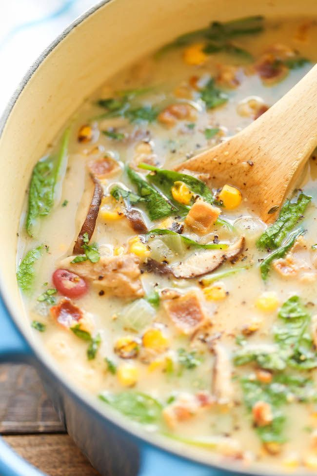 Mushroom, Corn and Bacon Chowder - An amazingly creamy chowder, loaded with tons of veggies. It's hearty, nutritious and so comforting! 245.9 calories. @damndelicious
