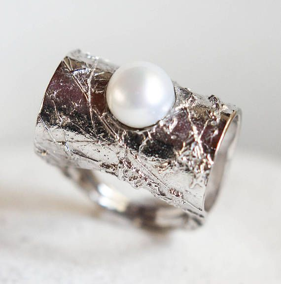 big  pearl ring 925 sterling silver ring  textured  ring