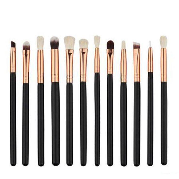 12 Pcs Foundation Powder Eyeshadow Eyeliner Lip Brush Tools Eyeshadow Brush Set Highlighter Brushes Pro Makeup Brushes Set YE10 #Affiliate