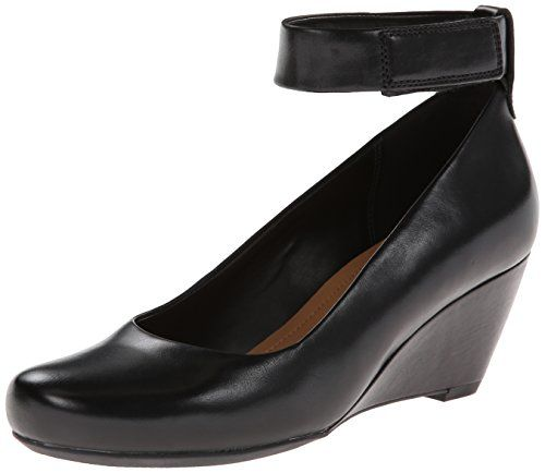Clarks Women's Bassett Mist Wedge Pump, Black Leather, M US. Comfortable  wedge pump in round-toe silhouette featuring wide hook-and-loop ankle strap^Memory  ...