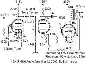 Dave Schmarder's 2 tube audio amplifier schematic in 2019