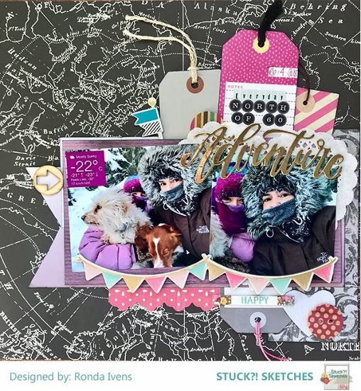 Stuck?! Sketches March 15 2018 sketch challenge DT layout by Rhonda