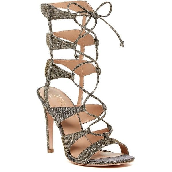 J/Slides Gillian Caged Heel Sandal (23 KWD) ❤ liked on Polyvore featuring shoes, sandals, gold fabric, caged heel sandals, strap heel sandals, cage sandals, gold heeled sandals and open toe sandals