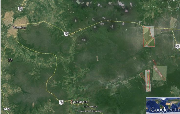 Google earth map showing the location of several Greenwood Management forestry sites in Brazil. For reference the city of Barreiras, Bahia state can be seen on the left. http://en.wikipedia.org/wiki/Barreiras