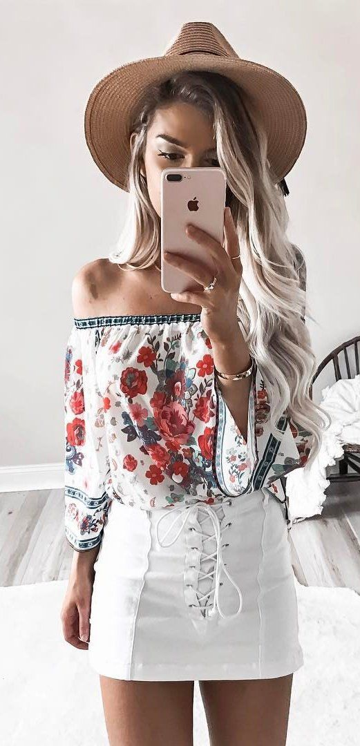 #summer #outfits Brown Hat + Floral Off The Shoulder Top + White Lace-up Skirt