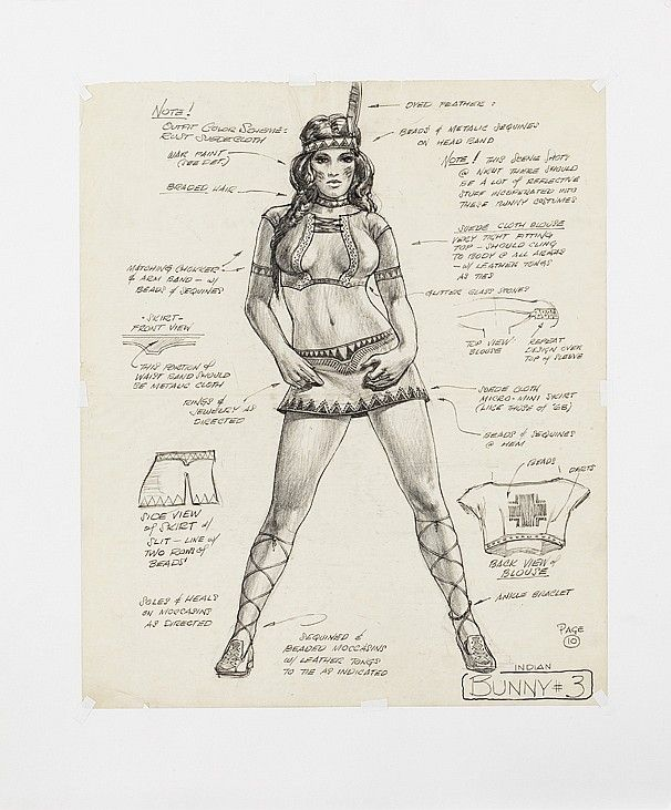 Original Lynda Carter 'Miss May' Playboy Bunny costume sketch for Apocalypse Now.