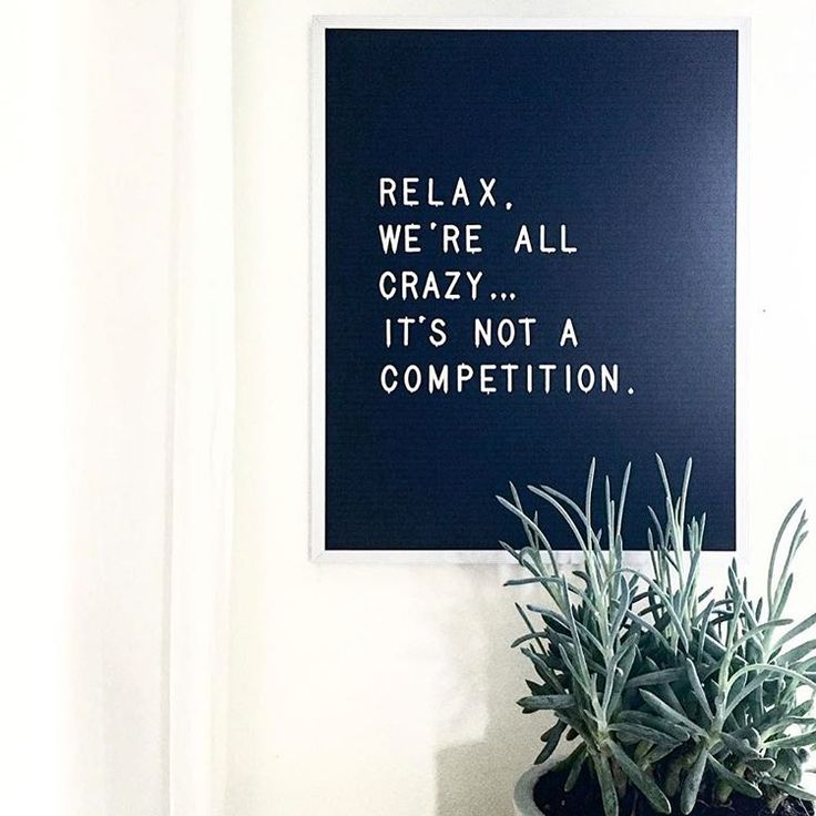 It's not a competition.
