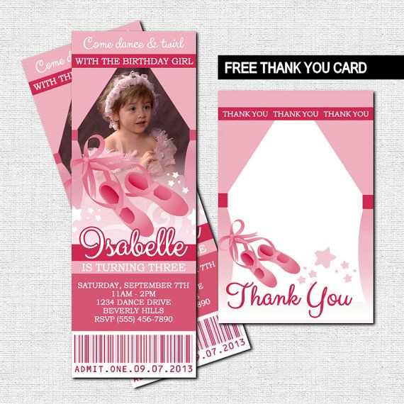 BALLET TICKET INVITATIONS Ballerina Birthday Party + BONUS THANK YOU CARD (Printable Files) - by nowanorris on Etsy