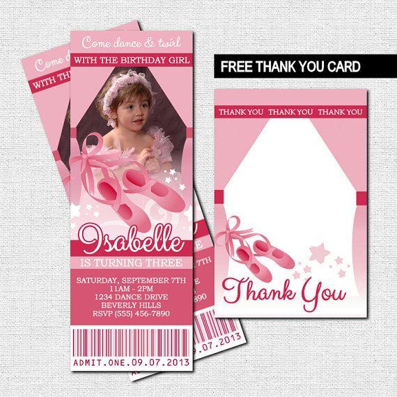 BALLET TICKET INVITATIONS Ballerina Birthday Party by nowanorris