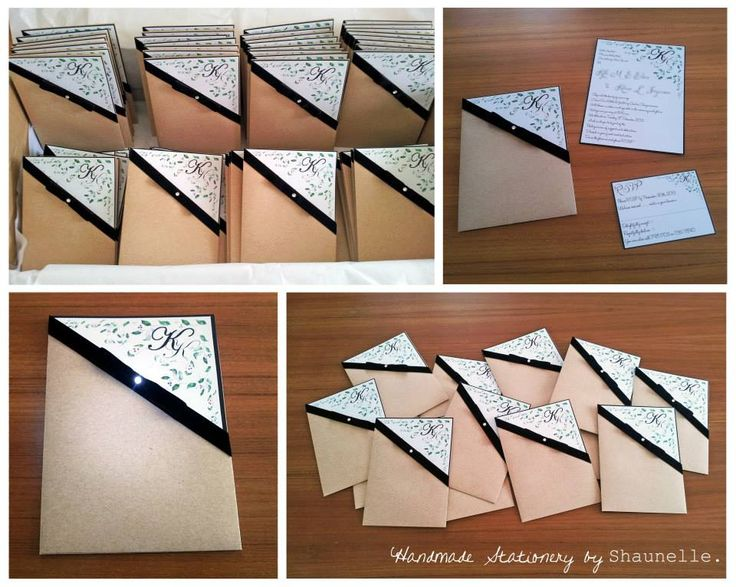 Handmade pocket wedding invitations embellished with black velvet ribbon-bow and a single #Swarovski crystal #rhinestone #bow accent. #handmadeinvitations #velvetribbon #kraftpaper #pocket #invitations  #elegant #wedding #stationery #weddinginvitations #shaunelleramesar