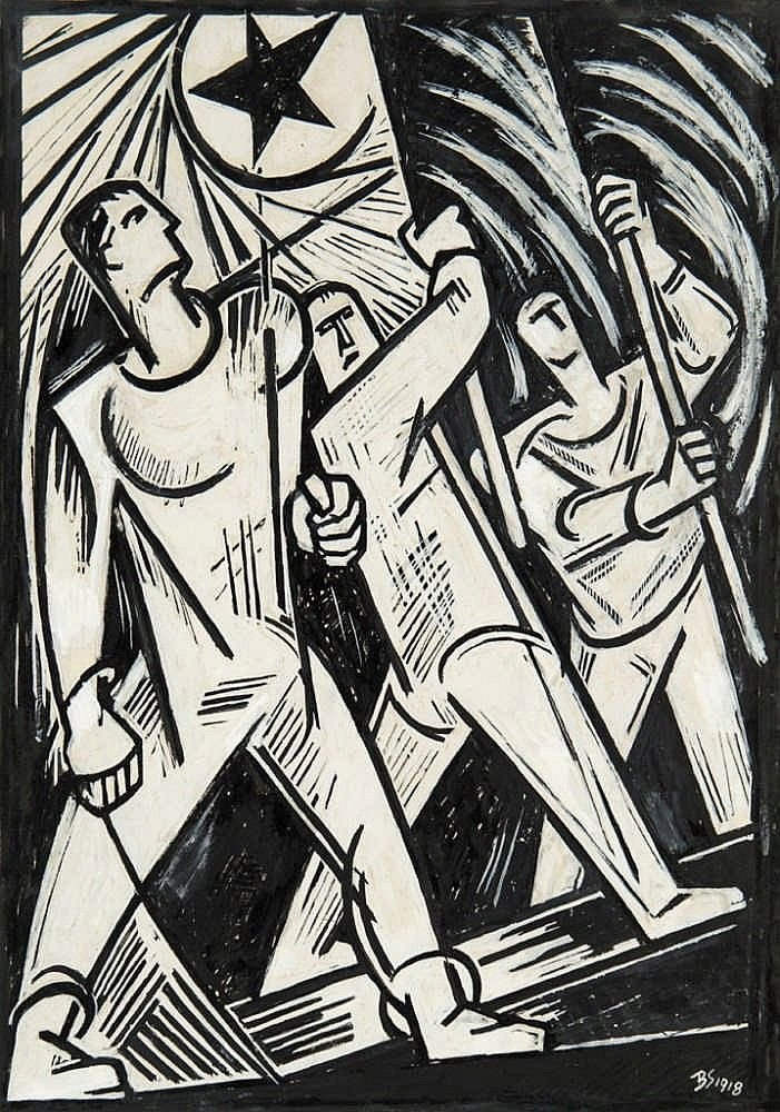 Bortnyik Sándor (1893-1976) Flag-bearers, 1918 Ink