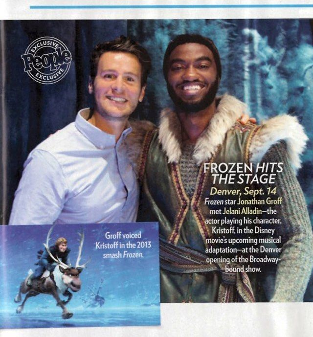 "4,289 Likes, 18 Comments - Frozen on Broadway (@frozenbroadway) on Instagram: ""Two Kristoffs, Jonathan Groff (film) and Jelani Alladin (stage), met up at the Pre-Broadway opening…"""