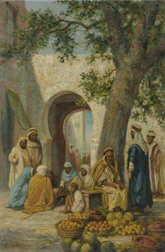 Algerie - Peintre Anglais Arthur Trevor Haddon (1864-1941 ),Huile sur toile, Titre: Marché de fruit en Algerie.