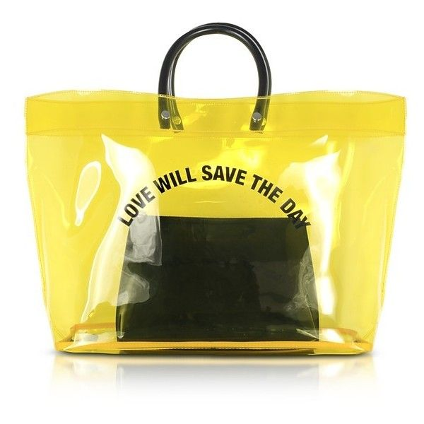 DSquared2 Handbags Love Will Save the Day Yellow Medium Tote Bag (720 RON) ❤ liked on Polyvore featuring bags, handbags, tote bags, yellow tote bag, purse pouch, zippered tote bag, zip tote and zip pouch