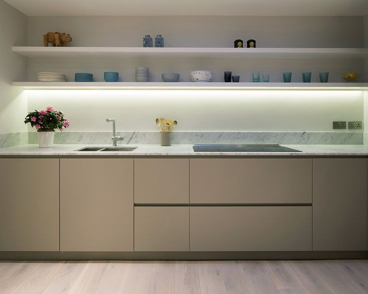 Clanricarde Gardens by Ardesia design #white #wooden #floor #spanish #linen #effect #kitchen #shelves #downdraft extractor