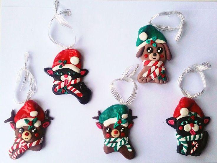 polymer clay, fimo, christmas decorations, handmade, diy