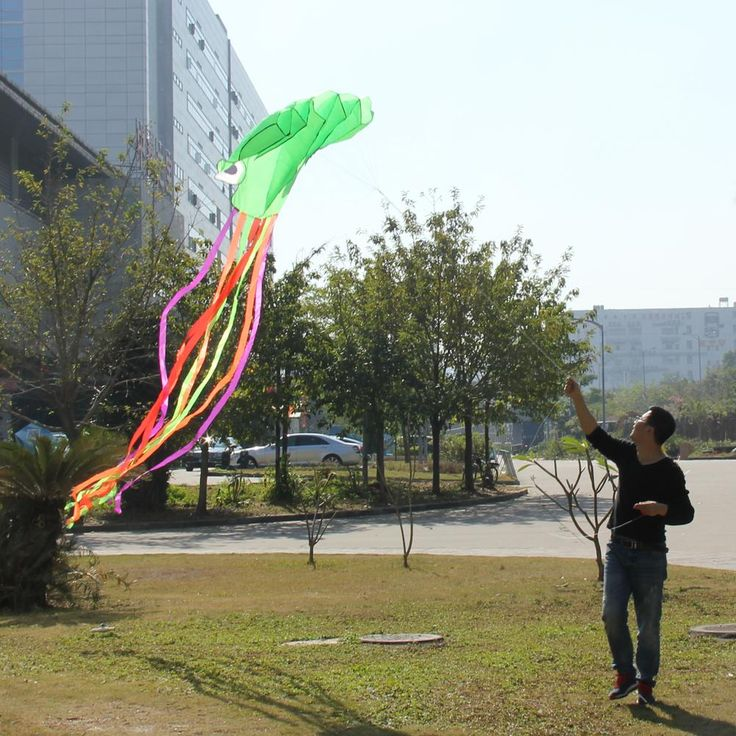 5.5m Large Green Octopus Kite for Children Single Line Stunt Software Power Kite Easy To Fly Kids Outdoor Fun Toys