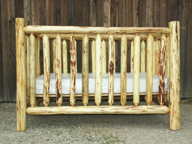 Rustic Log Crib. I would die to have this for baby Stokke!!