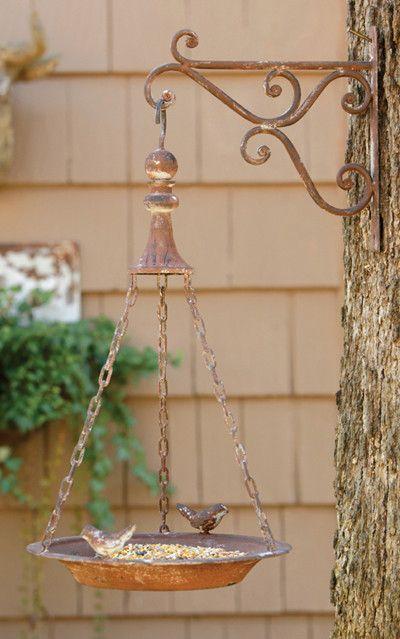 Hanging Bird Feeder with Bracket - Metal - Distressed Vintage Decor