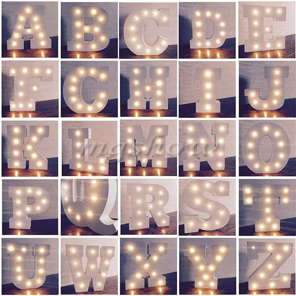 ALPHABET LETTER LIGHTS LED LIGHT UP WHITE WOODEN LETTERS STANDING / HANGING UK