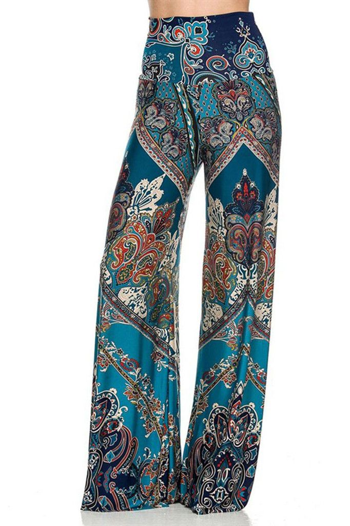 High Waist Fold Over Wide Leg Gaucho Palazzo Pants (Teal Baroque) – Niobe Clothing