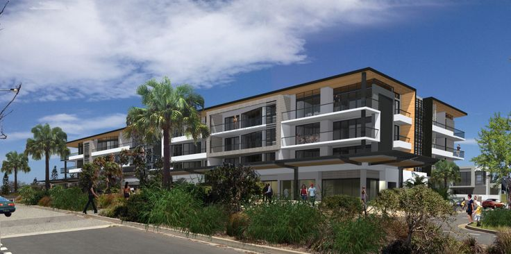 Seaside Mixed Use - 3D render of a modern coastal development comprising of retail and residential spaces on NSW's north coast.
