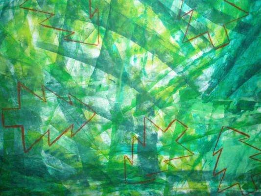 Mural d'avets Tallar el paper d'embalar. Pintar amb rodets amb pintura de diferents tons de verds (pintura més vernís) Fer unes plantilles amb forma d'avet. Resseguir amb la plantilla damunt del mural.