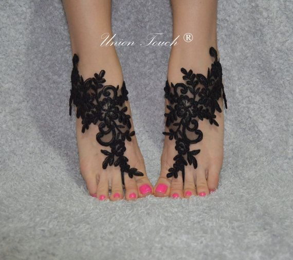 black lace barefoot sandals lace barefoot black beach lace barefoot Elastic frame lace anklet lace sandals beach lace shoes wedding barefoot