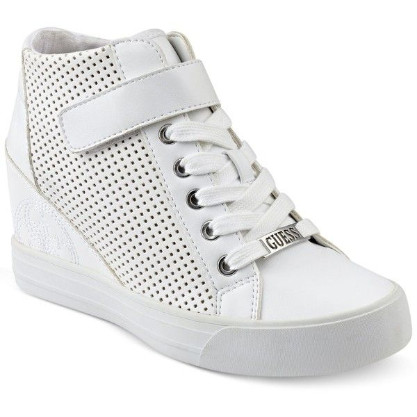 Guess Women's Decia Wedge Sneakers (5.025 RUB) ❤ liked on Polyvore featuring shoes, sneakers, white, wedge heel sneakers, hi top wedge sneakers, white sneakers, guess shoes and wedged sneakers