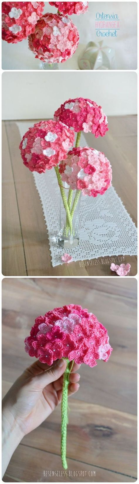 Crochet Hydrangea Flower with Free Pattern Ch 5, join with a slip stitch to make a ring. *Ch 3, 2 tr in ring, ch 3, sc in ring* repeat from * three times. Fasten off.