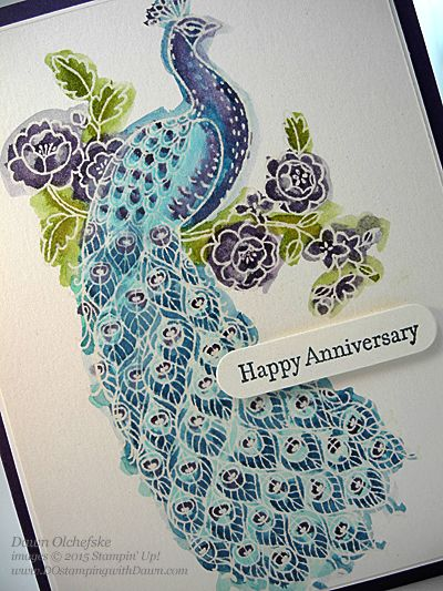 close-up view of coloring from Perfect Peacock Anniversary card by Dawn Olchefske  ...