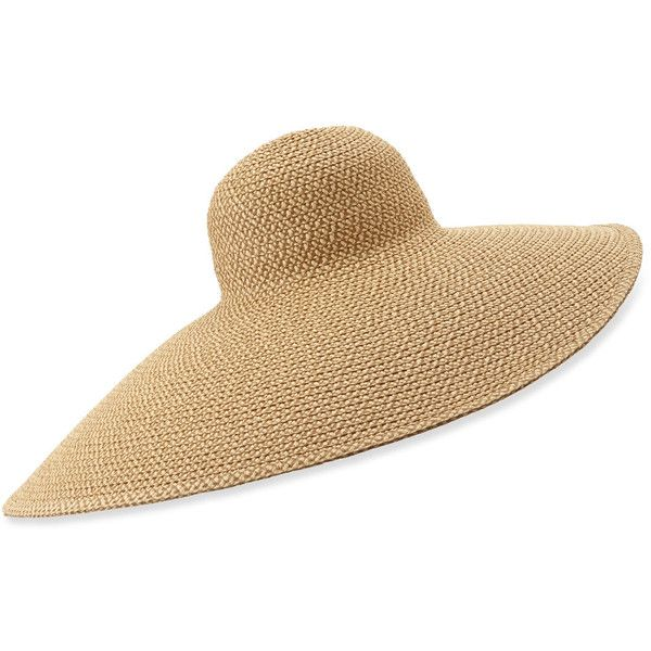 Eric Javits Giant Floppy Sun Hat (28.480 RUB) ❤ liked on Polyvore featuring accessories, hats, peanut, eric javits hats, flop hat, round straw hat, woven straw hat and straw beach hat