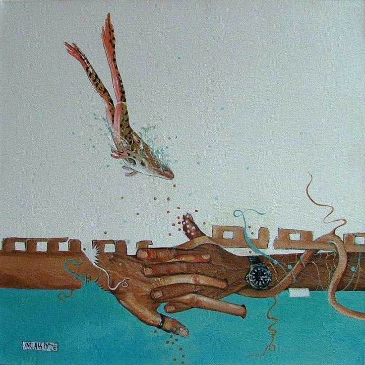 Tangled   -  Acrylic painting by Mariaan Kotze