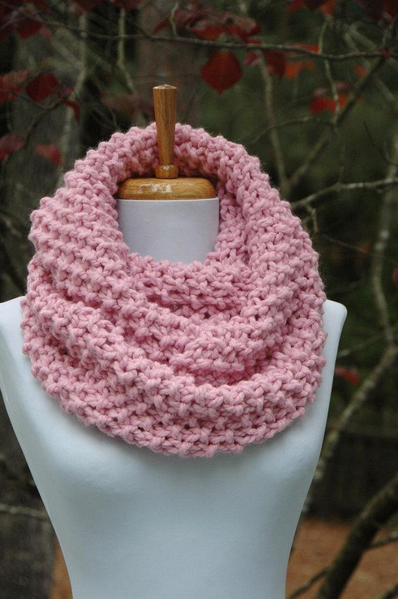 Pink Infinity Scarf Circle Scarf Knit Infinity Scarf Chunky Scarf