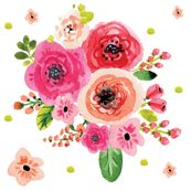 Watercolor Pink Flowers with Extras by hudsondesigncompany