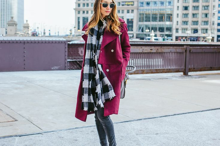 Berry-Colored Oversized Coat