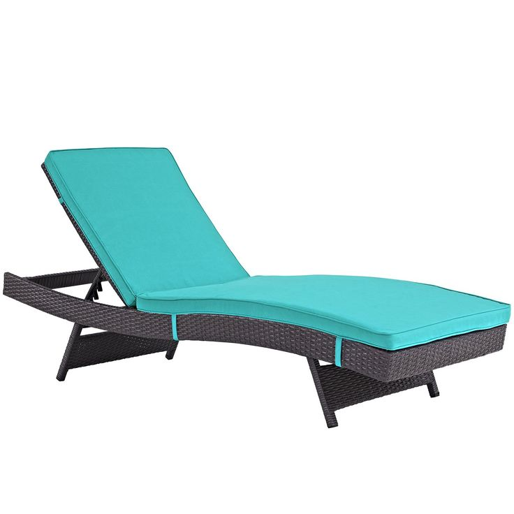 Plutus Brands MF1682 Outdoor Patio Chaise, Espresso Turquoise. Modern Outdoor Chaise Lounge Synthetic Rattan Weave Machine Washable Cushion Covers Powder Coated Aluminum Frame Water & Uv Resistant. Machine Washable Cushion Covers. Material: synthetic rattan weave, powder coated aluminum; cushion density is 24KG/M3.