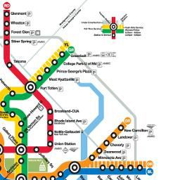 The Metro! It's color coded and easy to navigate between D.C, Maryland and Virginia. The Metrorail system has five color-coded rail lines: Red, Orange, Blue, Yellow, and Green. The layout of the system makes it possible to travel between any two stations with no more than a single transfer.