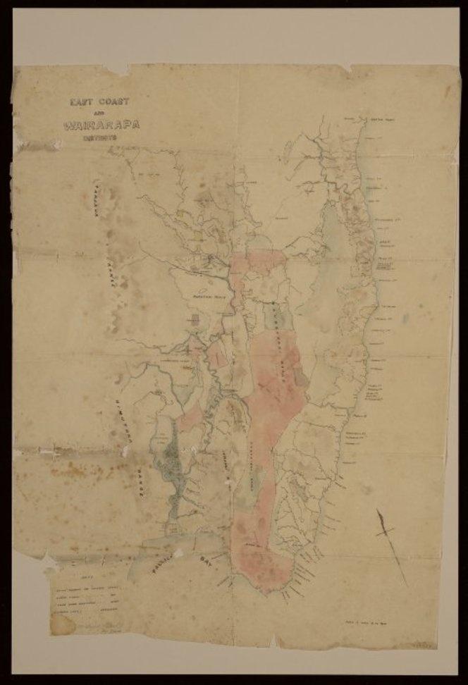 East Coast and Wairarapa districts [ms map]. [ca. 1860].