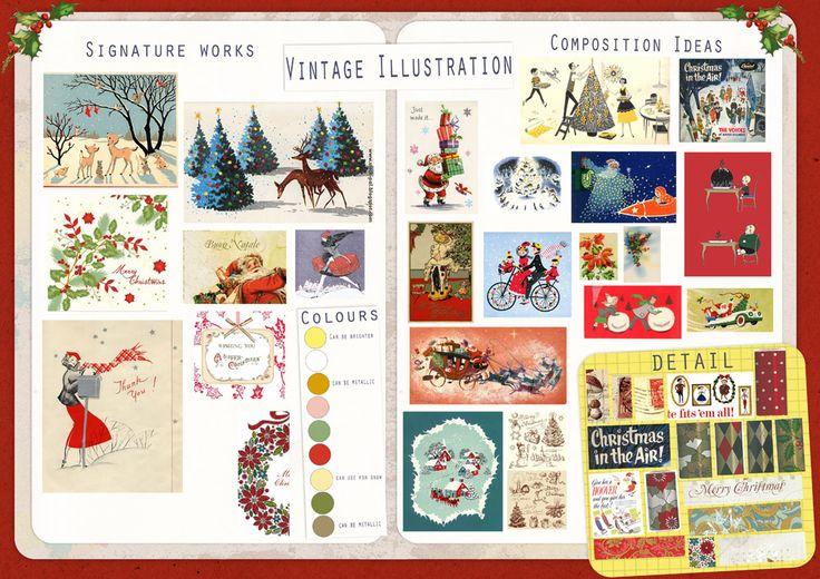 Vintage illustration moodboard, Christmas, Advocate Art, Illustration Agency, Greeting Card Design