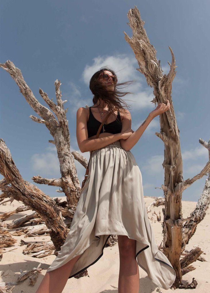 Blaze Midi Skirt in Stone: Bamboo Twill, button up, button down.