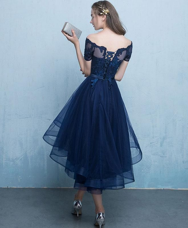 1ced538ef071 Dark blue lace tulle short prom dress, high low evening dress in ...