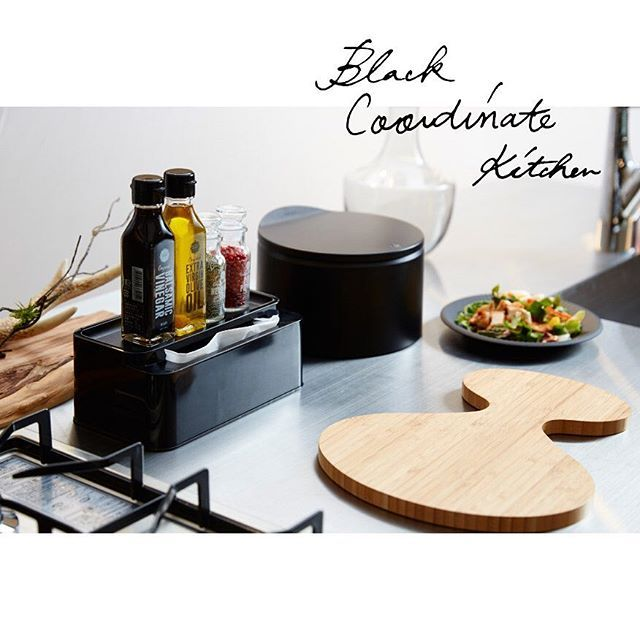 """Black Coordinate Kitchen by ideaco Trash Can """"tubular flat20""""  TM Series """"TM.plate""""  Tissue Case """"ecoroof"""""""