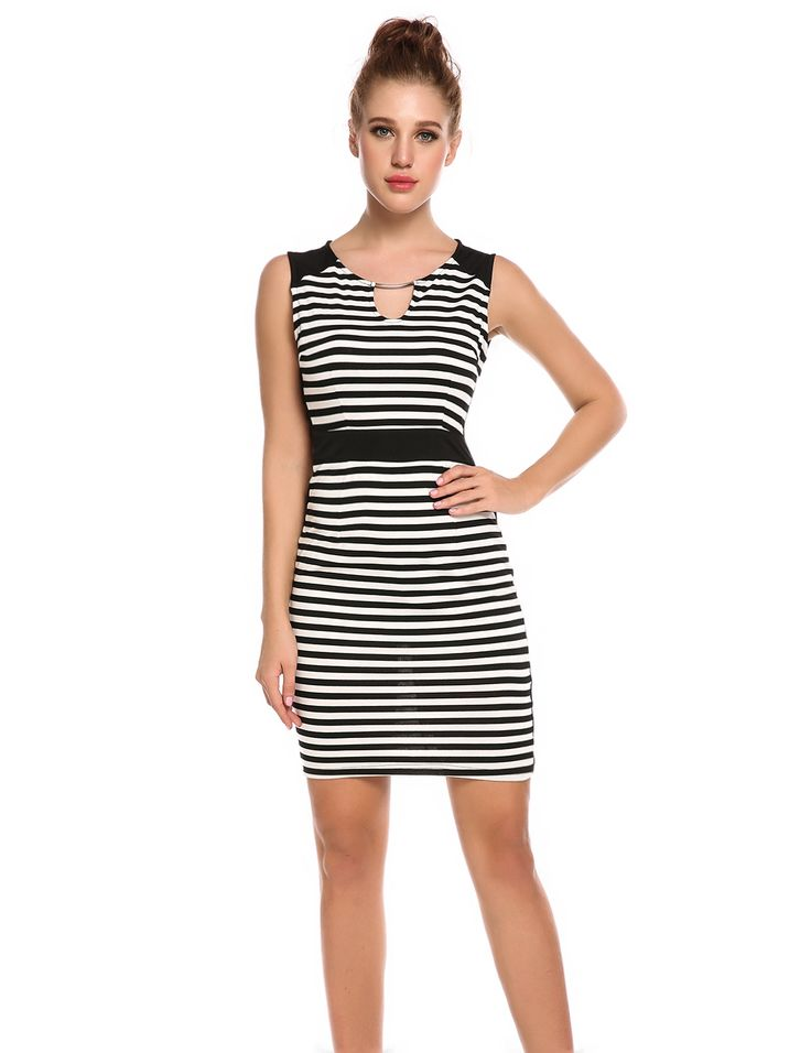Black & White Sleeveless Keyhole Cocktail Bodycon Striped Lace Going Out Dress