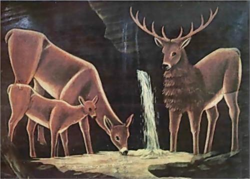 The family of deer - Niko Pirosmani
