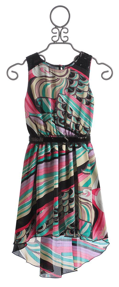 Le Pink Tween Girls Dress In Hi Low Hem Designer