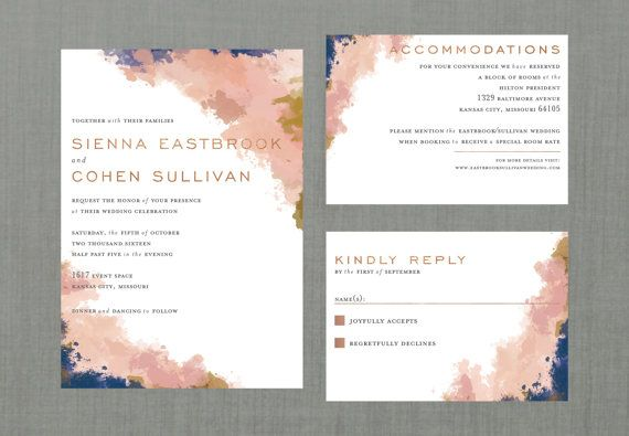 The Whimsical Watercolor wedding suite is perfect for the couple looking for something soft & romantic, while still staying modern.  [PLEASE NOTE]