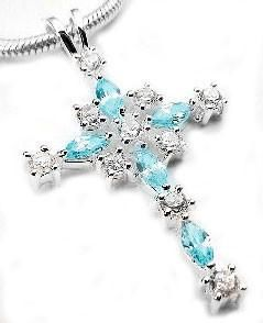 Sterling Silver White & Teal Blue Crystal Cross Pendant