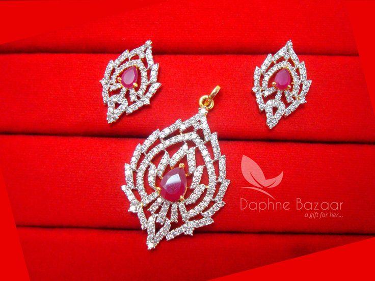 AD96, Daphne Party Wear Pink Zircon Pendant Earrings